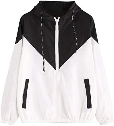 HX fashion Dames Windjas Hoodie Lange Mouwen Comfortabele Maten Dunne Jas Skinsuits Ritszakken Lente Sport Jas Mode 2020 Dameskleding ColorSchwarz One Size3XL