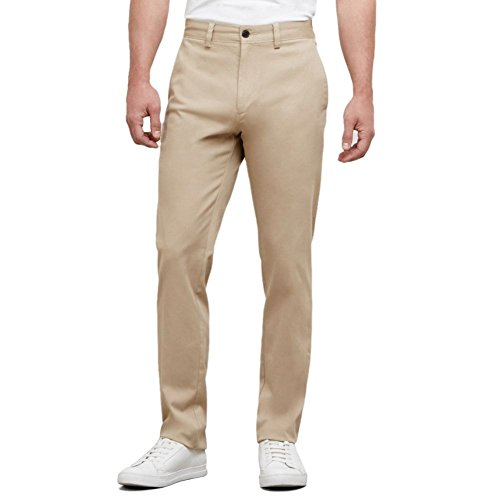 Kenneth Cole Reaction Khaki (Kenneth Cole REACTION Men's Solid Stretch Eco Chino Flat Front Slim Fit Casual Pant, Khaki, 31x32)