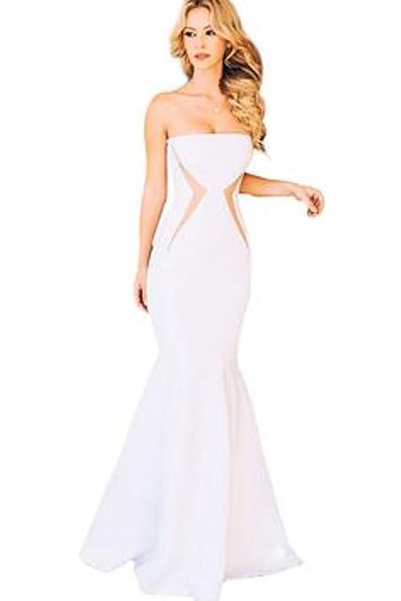 Para mujer blanco tirantes de la fiesta de baile vestido de cóctel desgaste vestido talla 12