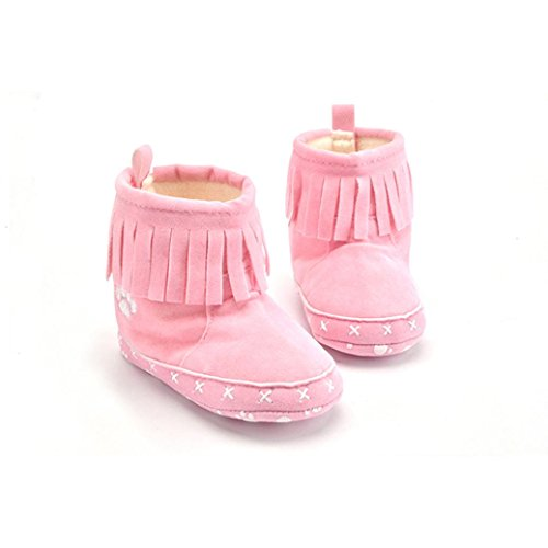 Kingko® 0-18 Monate Baby Quaste Dekor Warm Baumwolle Futter Winter Schneeschuhe Rosa