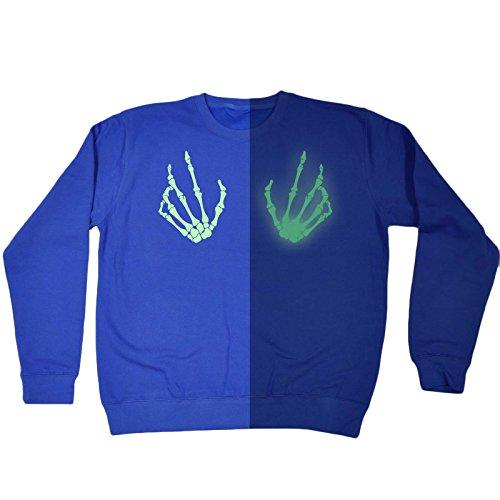 123t Seins Squelette Lueur Dans L'obscurité - Sweat-shirt Bleu Royal