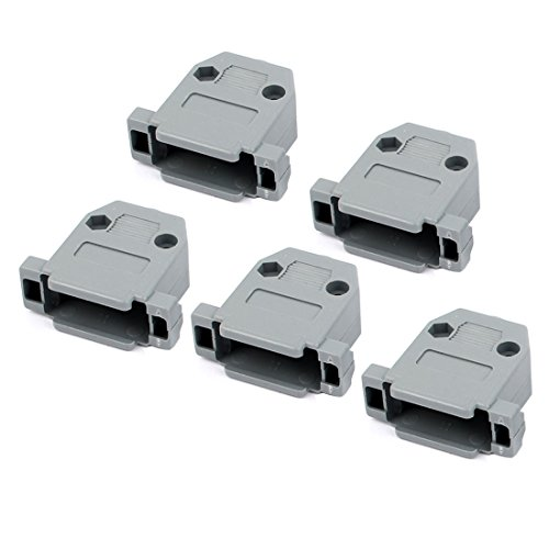 uxcell 5 Pcs Serial Port D-Sub DB15 Connector Kit Gray Plastic Hoods (D-sub Connector Housing)