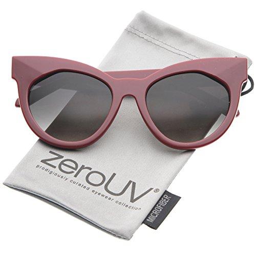 zeroUV - Chic Womens Oversized Flat Lens Bold Chunky Cat Eye Sunglasses 64mm (Red-Gold / - Optics Lens Flat