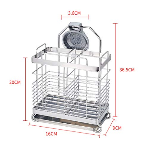 CFXZM Kitchen Shelf, Knife Fork Chopsticks Double Tube Drain Rack Cage Storage Box 304 Stainless Steel Suction Cup Wall Basket by CFXZM (Image #1)