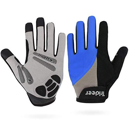 Cycling Premium Gloves (Trideer Touch-Screen Cycling Gloves, Mountain Road Gloves Anti-Slip Shock - Absorbing Silica Gel Grip, Bicycle Racing Gloves Biking Gloves(Full Finger Blue, XL (Fits 8.7-9.5 inches)))