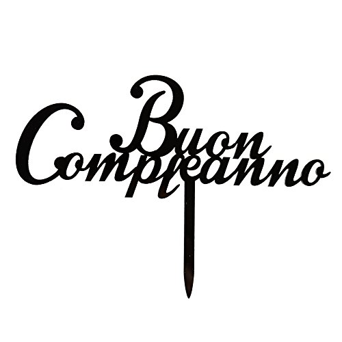 Buon Compleanno Cake Topper, Italian Birthday Party Cake Decorations, Black Acrylic