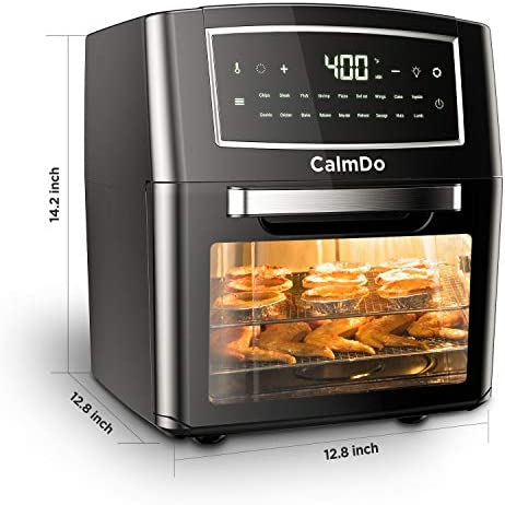 CalmDo Air Fryer Oven 12.7 Quarts, 18-in-1 Convection Oven, 18 Functions to Rotisserie and Dehydrator, 10 Accessories & Recipe Included, BPA-free Healthy Cooking