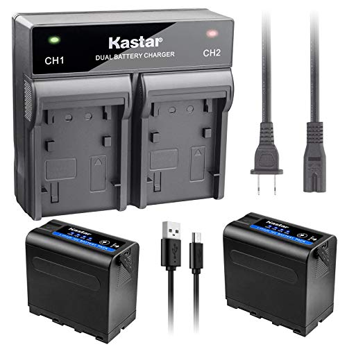 Kastar 2 Pack Battery and Dual Rapid Charger for Sony NP-F980 Pro NP-F960 CCD-TRV45 CCD-TRV46 CCD-TRV47 CCD-TRV48 CCD-TRV49 CCD-TRV51 CCD-TRV510 CCD-TRV517 CCD-TRV54 CCD-TRV55 CCD-TRV56 CCD-TRV57