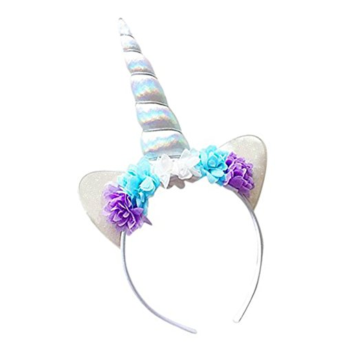Diy Costumes With Green Tutus (Unicorn Headband Shiny White Unicorn Horn Lace Flowers Ears Headband Unicorn Birthday Party Decoration Cosplay Costume)