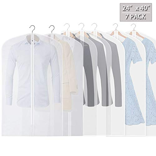 Hanging Garment Cover Bag (Set of 7) for Storage and Travel Premium Quality PEVA Dustproof Translucent Suit Garment Bag Breathable Anti-Moth with Strong Zipper (40
