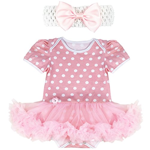 iiniim Baby Girl's Polka Dot Tutu Romper with Headband Easter Dress Up Outfit Set Pink Dots 3-6 (Outfits With Dresses)