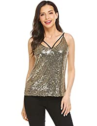92b21aedc2a5 Women s Shimmer Glam Sequin Embellished Sparkle Tank Top Cami Tops