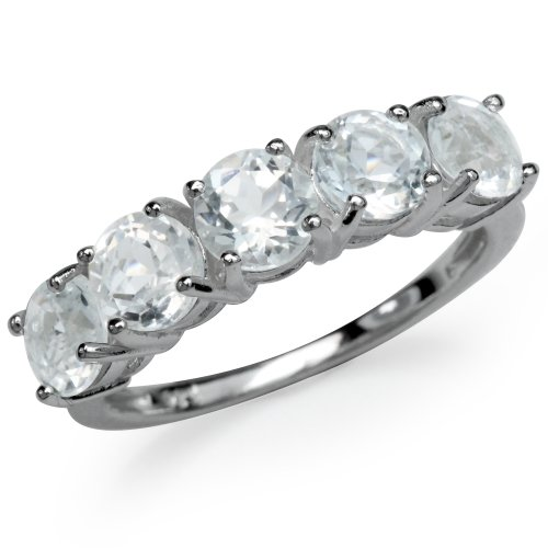 3.05ct. 5-Stone Genuine White Topaz 925 Sterling Silver Ring Size 9 ()