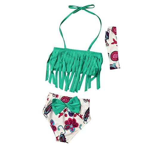 Elevin(TM)3Pcs Toddler Kids Baby Girls Swimsuit Swimwear Bathing Suit Tankini Bikini Set (4T, Green) (Toddler Panties Padded)