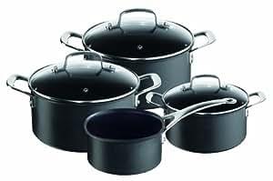 Tefal E00797 Jamie Oliver Black - Batería de cocina de inducción (4 piezas)