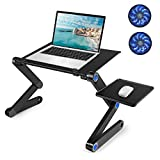 Laptop Table, Adjustable Laptop Bed Table, Laptop Computer Stand, Portable Laptop Workstation Notebook Stand Reading Holder with 2 CPU Cooling Fans and Mouse Pad in Bed Couch Office Sofa