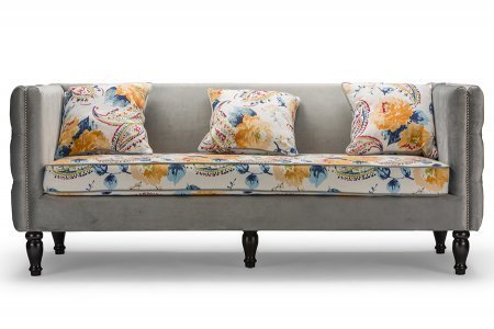 Baxton Studio Penelope Gray Velvet and Paisley Floral Sofa