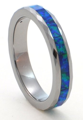 Faceted 4mm Precious Opal Tungsten Carbide Ring with Blue Inlays That Flashes with Blue Fire with a Hint of Green (9) ()