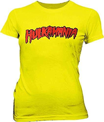 Hulkamania Hulk Hogan Juniors Yellow T-Shirt Tee (Juniors X-Large)