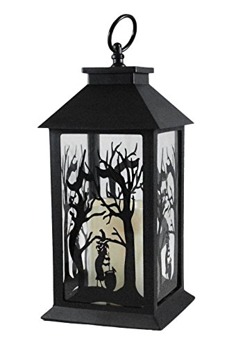 [Witch Silhouette Halloween Lantern with LED Candle] (Halloween Lighting)