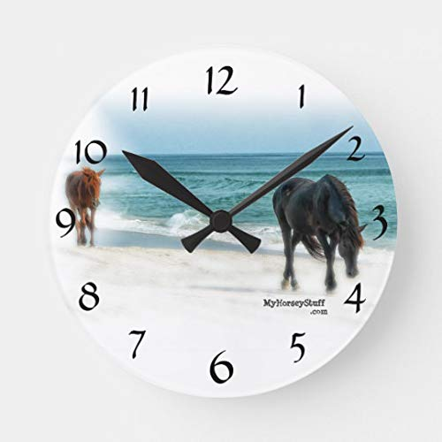 Wall Clock with Horse Photo Equestrian Horse Decorative Wall Clock for Women Men Teen Girls Boys Silent Wood Clock 14 Inches ()
