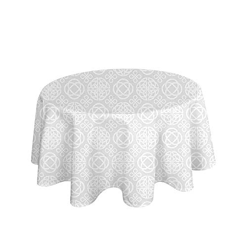 Celtic Easy Care Leakproof and Durable Tablecloth Retro Tribal Celtic Knots Eternity Forms Pattern Boho Ireland Irish Floral Artwork Outdoor Picnic D55 Inch Grey White