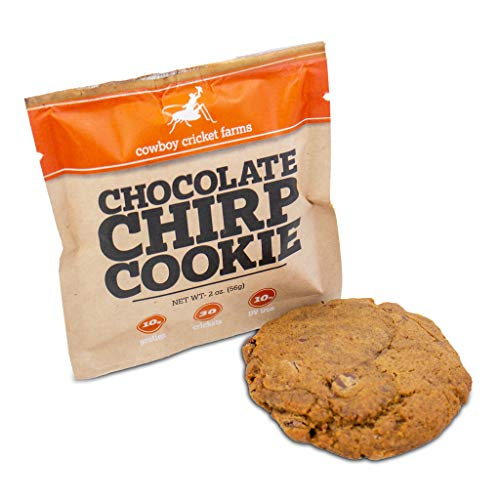 Chocolate Chirp Cookie, Three Pack, Cowboy Cricket Farms, 10 Grams Protein, 2 Ounce, Protein Cookie, Cricket Cookie, Insect Bug Cookie, Montana, Soy Free ()