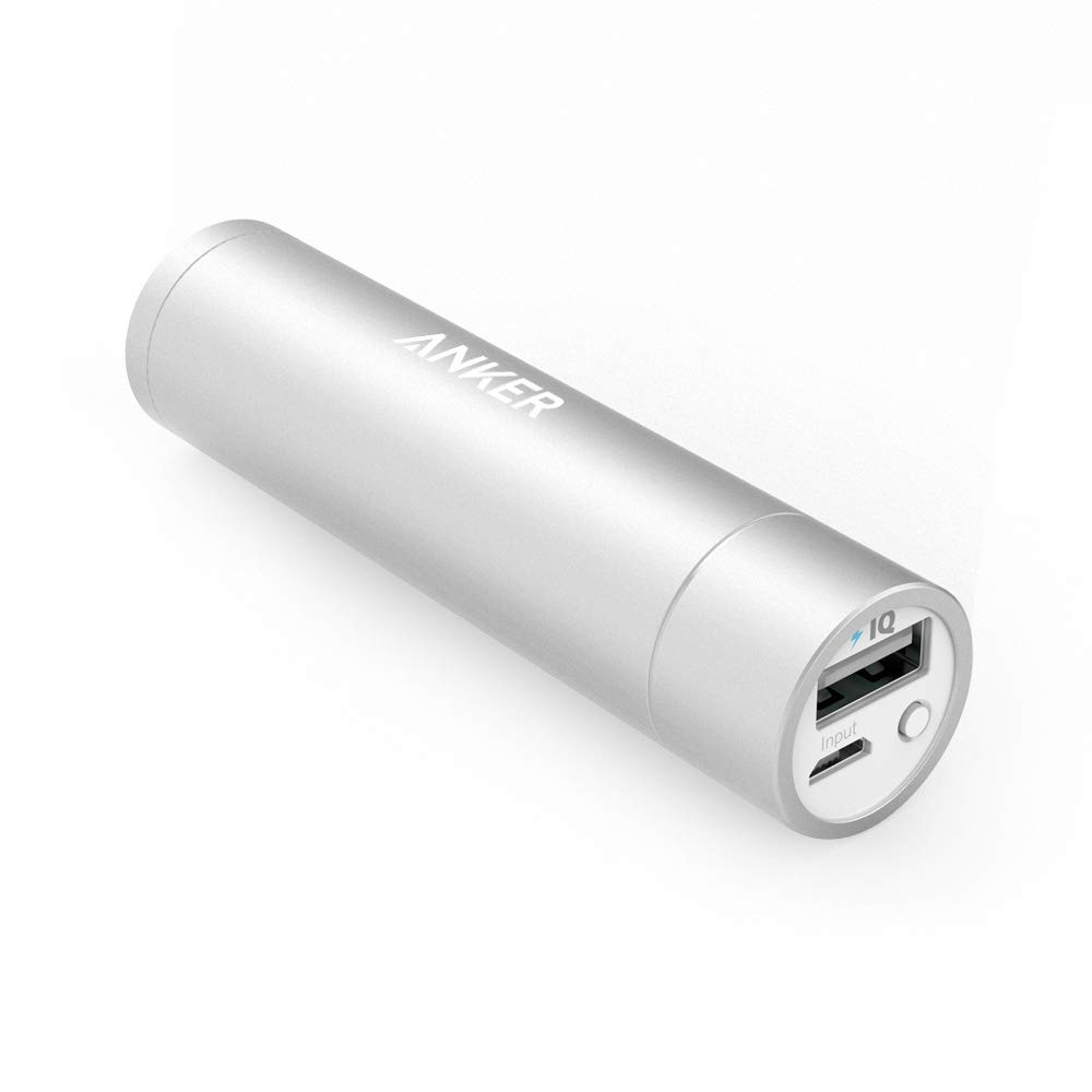 Anker PowerCore+ Mini, 3350mAh Lipstick-Sized Portable Charger (Premium Aluminum Power Bank), One of The Most Compact External Batteries, Compatible with iPhone Xs/XR, Android Smartphones and More A1105031