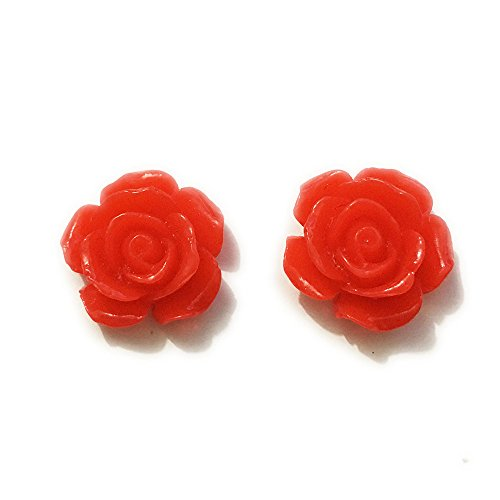 (60Pcs 15mm DIY Resin Rose Flowers Cabochons Cameo Flat Back Nail Beauty Manicure (Red))