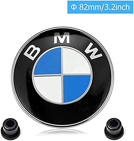 front+back // 82mm+74mm Hisport Car Emblem Hood//Trunk Car Logo Replacement for BMW Accessories