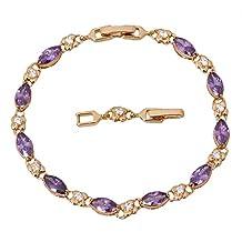 BMALL Purple Zircon Amethyst Bracelet 18K Yellow Gold Plated Flower Styles Bracelet Fashion 20.5Cm 8.07 Inch B126