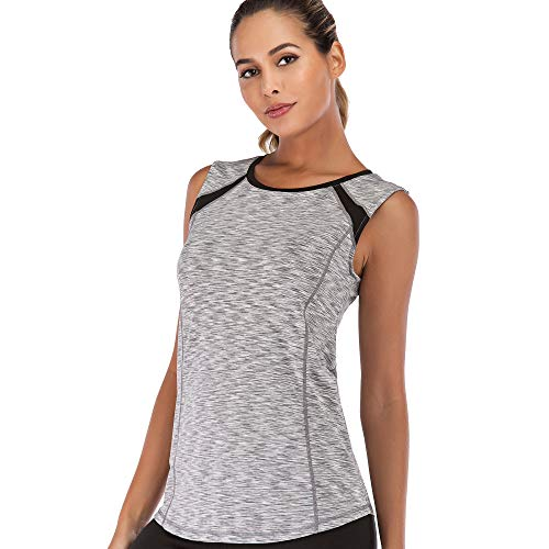 Women Sleeveless Yoga Top Moisture Wicking Athletic Shirts Quick Dry Fitness Workout Activewear Tennis Tank Top (Light Grey, XL)