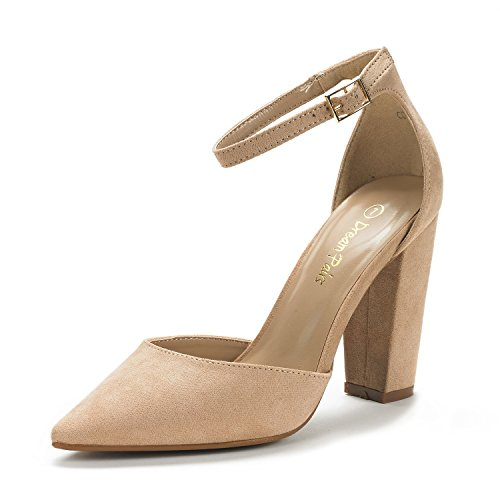 DREAM PAIRS Women's Coco Nude Suede Mid Heel Pump Shoes - 8 M US
