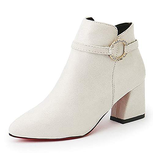 White US7.5   EU38   UK5.5   CN38 White US7.5   EU38   UK5.5   CN38 Women's Fashion Boots PU Fall Casual Boots Chunky Heel Booties Ankle Boots White Black