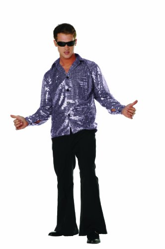 [RG Costumes Disco Inferno Shirt, Silver, Large (40-42)] (70s Couple Costumes)