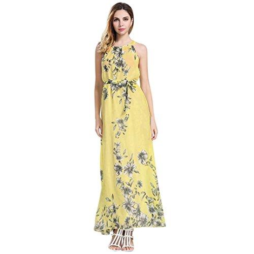 sans Summer dames Malloom Robe Maxi Floral manches Boho robe Femme Print longue qnxEPId0S