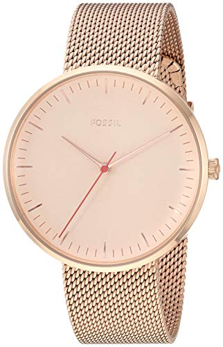 Fossil Women's 'The Essentialist' Quartz Stainless-Steel-Plated Casual Watch, Color:Rose Gold-Toned (Model: - White Fossil Watch Rose Gold And