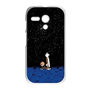 Calvin and Hobbes Starry Night Motorola G Cell Phone Case White 05Go-418865
