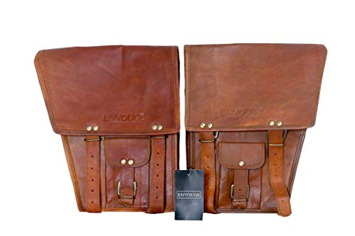 ENVOUGE INDIA 2 X Motorcycle Side Pouch Brown Leather Side Pouch Classic Saddlebags Saddle Panniers (2 Bags)