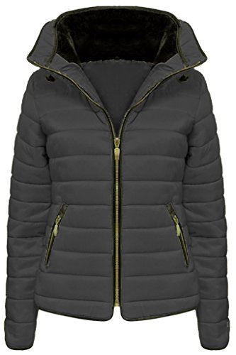 Women's Ladies Quilted Padded Coat Bubble Puffer Jacket Fur Collar Hooded Thick Jacket 6-14 Fashionchic Dark Grey