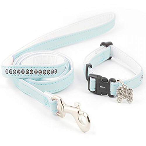 Ancol Small Bite Jewel Collar (adjusts 20-30cm) & Lead (1m x 10mm) Set Blue