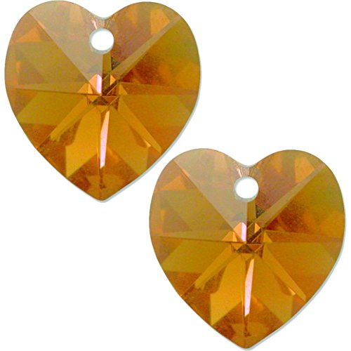 2 Topaz AB Made With Swarovski Crystal Heart Pendant 6202 10mm Ab Swarovski Crystal Heart Pendant