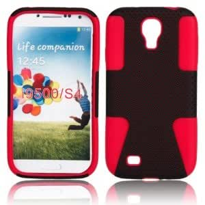 Silicone and Plastic Protective Case for Samsung i9500 Black+Red
