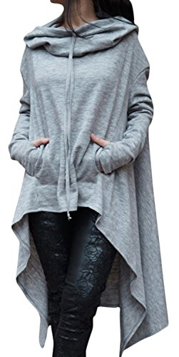 Anmengte Fashion Casual Irregular Maxi Solid Color Hooded Sweater Blouse Top (S, Gray)