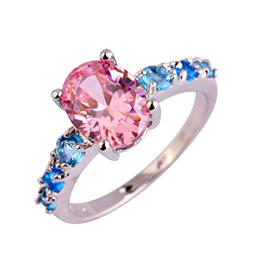 (Emsione Women's 925 Silver Plated Oval Creted Pink Topaz and Round Blue Topaz Bridal Promise Rings Size 6 to 13)