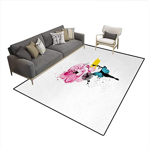 Rug,Artistic Illustration of a Woman Portrait with Butterfly Wings and Blooming Flowers,Floor Mat for Kids,MulticolorSize:5'x8'