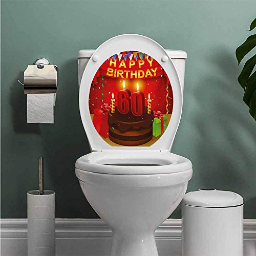 Auraise Heybee 58th Birthday Vinyl Carving Decal Sticker Festive Party Theme Show Inspired Curtains and Cakes Box Art Colorful Print Toilet Seat Sticker Bathroom Decor Multicolor W12XL14 INCH