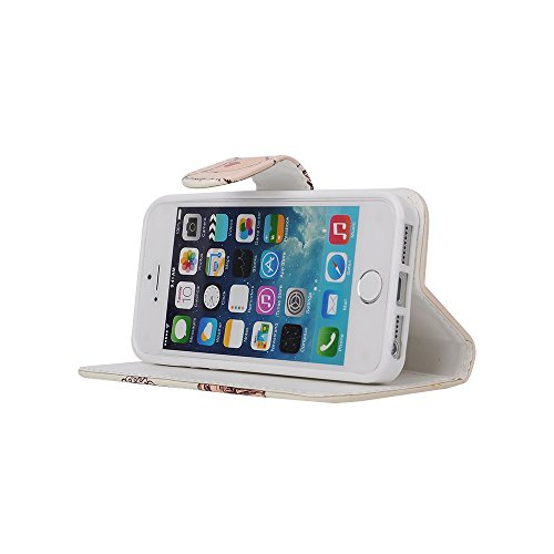 MOONCASE iPhone 5 Case Leder Tasche Flip Case Schutzhülle Etui Kartenfächer Hülle Schale Cover für iPhone 5 5S -ZD10