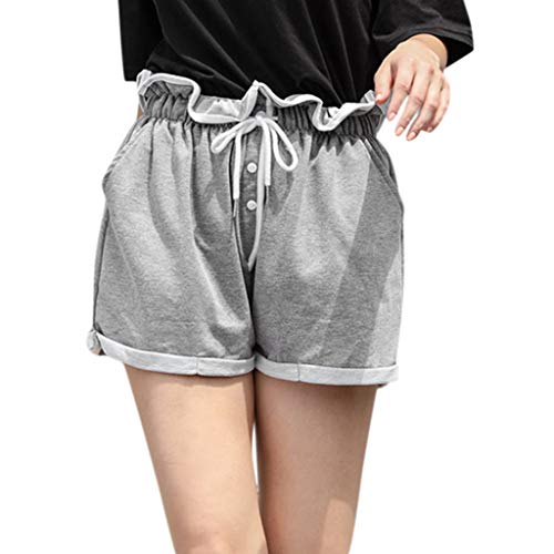 Funnygals Soft and Comfy Activewear Lounge Shorts High Waist Cotton Pants Wide Leg Shorts with Pockets and Drawstring Gray]()