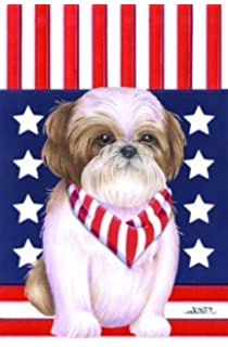 Shih Tzu Brown   Tomoyo Pitcher Patriotic Garden Flag